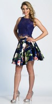Dave and Johnny Floral Print Lace Two Piece Cocktail Dress