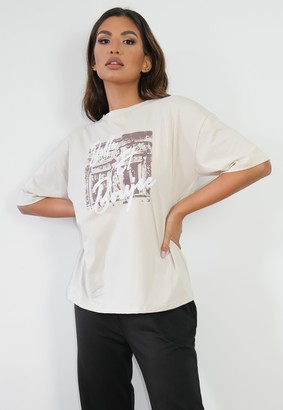 Missguided Tall Beige Belle Oversized Graphic T Shirt