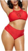 Fashion to Figure Rosario Crochet Knit Halter Swimsuit Top-Plus