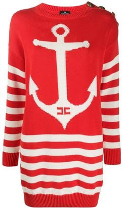 Elisabetta Franchi striped anchor knitted dress