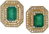 Effy Emerald (1-9/10 ct. t.w.) and Diamond (3/8 ct. t.w.) Button Earrings in 14k Gold
