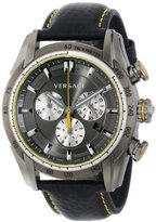 """Versace Men's VDB020014 """"V-Ray"""" Stainless Steel Watch with Black Genuine Leather Band"""