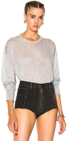 Alexander Wang Gauze Cashmere Nylon Knit Oversized Crew Pullover in Gray.