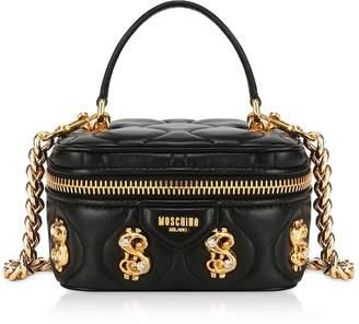 Moschino Black Dollars Bauletto Bag w/Nappa