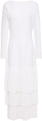 Alaia Tiered Pleated Jacquard-knit Midi Dress