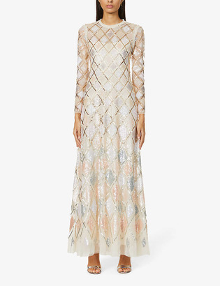 Needle And Thread Sequin Diamond embellished woven gown