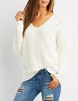 Charlotte Russe Shaker Stitch Ribbed Trim Sweater