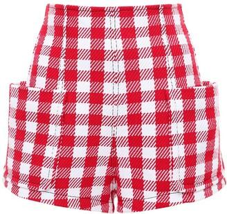 Philosophy di Lorenzo Serafini Belted Macro Gingham Cotton Blend Shorts