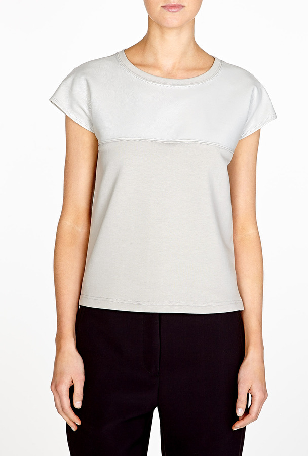 Helmut Lang Ash Neutral Motor Terry Leather Panel T-shirt