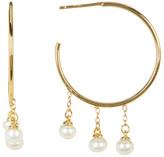 Argentovivo 18K Gold Plated Sterling Silver 4-5mm Genuine Freshwater Pearl Drops Hoop Earrings