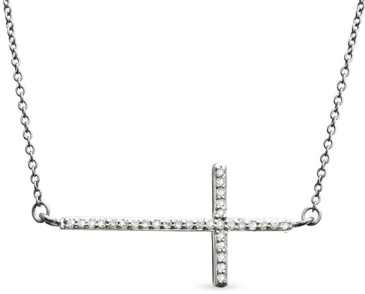 """Zales 1/6 CT. T.W. Diamond Sideways Cross Necklace in 10K White Gold - 17"""""""