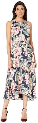 Tahari ASL Sleeveless Printed Floral Keyhole Neck Dress w/ High-Low Hem Line (Navy Cali Floral) Women's Dress
