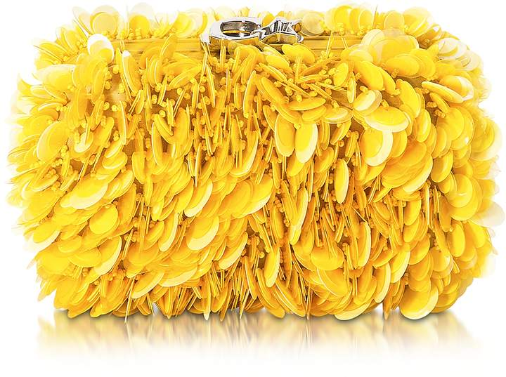 Corto Moltedo Susan C Star Yellow Explosion Nappa Leather Pochette w/Chain Strap