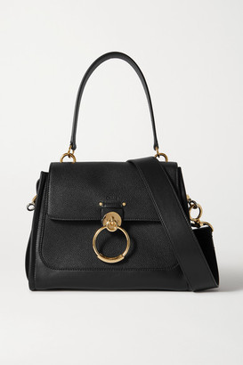Chloé Tess Day Small Smooth And Textured-leather Shoulder Bag - Black