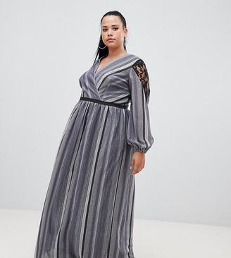 Little Mistress Plus wrap front lace insert maxi dress in metallic stripe