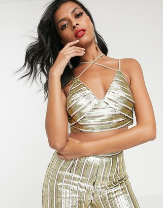 ASOS DESIGN stripe sequin double strap crop top co-ord