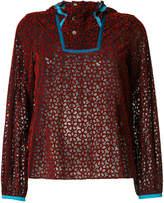 Kolor sheer hooded blouse