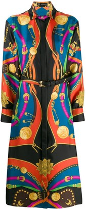 Versace Barocco Rodeao print midi shirt dress