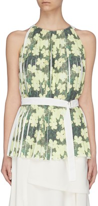 3.1 Phillip Lim Floral print knife pleated belted tank top
