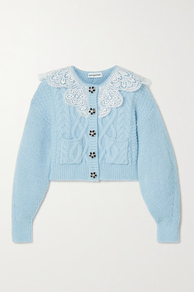 Self-Portrait Cropped Lace-trimmed Crystal-embellished Cable-knit Cardigan - Light blue