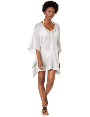 BCBGMAXAZRIA Women's Open Side V-Neck Tunic Shimmer Cover-Up