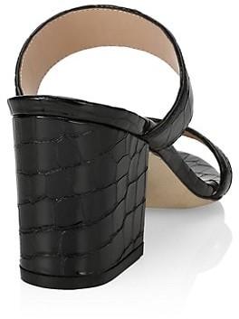 Stuart Weitzman Olive Croc-Embossed Leather Mules
