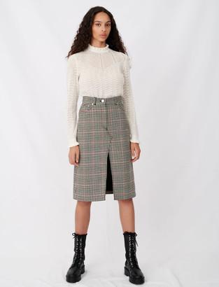 Maje Midi checked skirt with slit