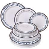 Silver Spoons DISPOSABLE DINNERWARE SET | Heavy Duty Plastic Dishes | Elegant Fine China Look | Includes: 80 Dinner Plates