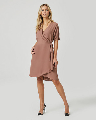 Le Château Crepe de Chine Flutter Sleeve Wrap Dress