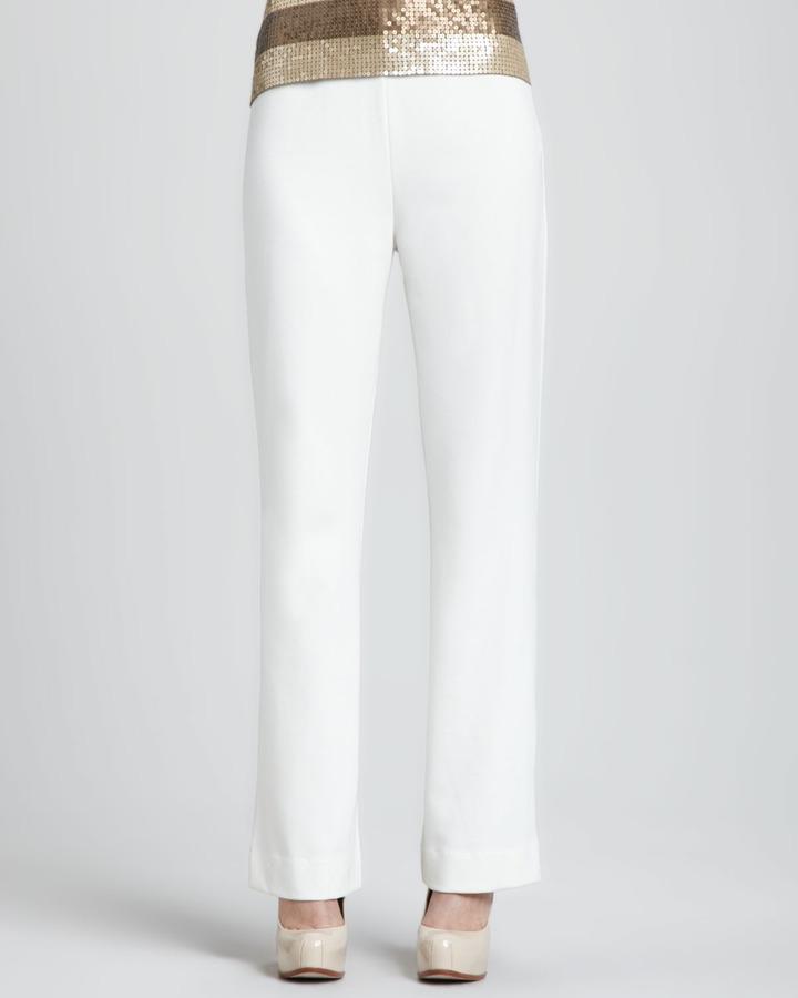 Joan Vass Ponte Boot-Cut Pants, Petite