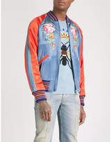 Gucci Floral And Koi Carp-embroidered Satin Bomber Jacket