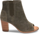 Toms Tarmac Olive Perforated Suede Women's Majorca Peep Toe Booties