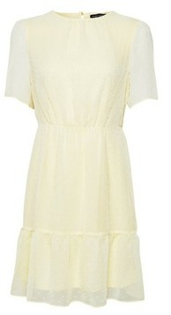Dorothy Perkins Womens Lemon Dobby Frill Skater Dress