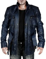Feather Skin Mens Hand Waxed Leather Jacket Matte - XL
