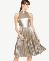 Ann Taylor Shimmer Chiffon Pleated Dress