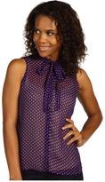 MICHAEL Michael Kors Diamond Foulard Sleeveless Tie Front Blouse (French Lavender) - Apparel