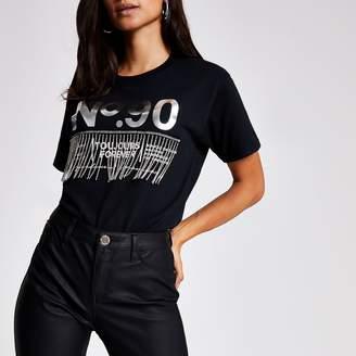 River Island Womens Petite Black 'No.90' diamante fringe T-shirt