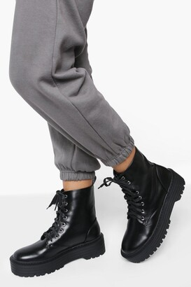 boohoo Lace Up Chunky Hiker Boot