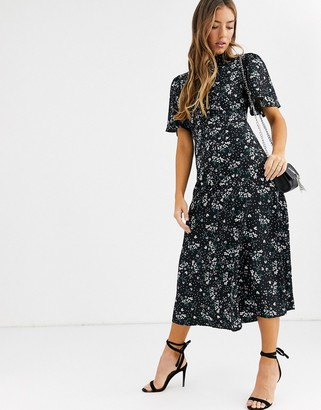 Fashion Union high neck midaxi tea dress with flutter sleeve-Black