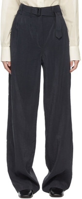 Lemaire Navy Silk Loose Trousers