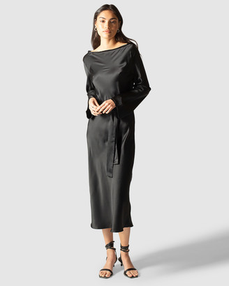 GINIA RTW - Women's Black Maxi dresses - Ella Silk Satin Dress - Size One Size, S at The Iconic