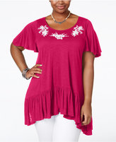 American Rag Trendy Plus Size Embroidered Handkerchief-Hem Top, Only at Macy's