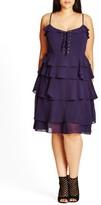 City Chic Plus Size Women's Lace-Up Ruffle Fit & Flare Dress