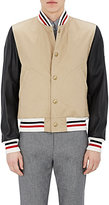 Moncler Gamme Bleu Men's Leather-Sleeve Cotton Varsity Jacket