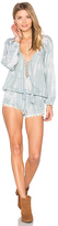 Tiare Hawaii Kalani Lace Up Romper in Gray. - size M/L (also in S/M)