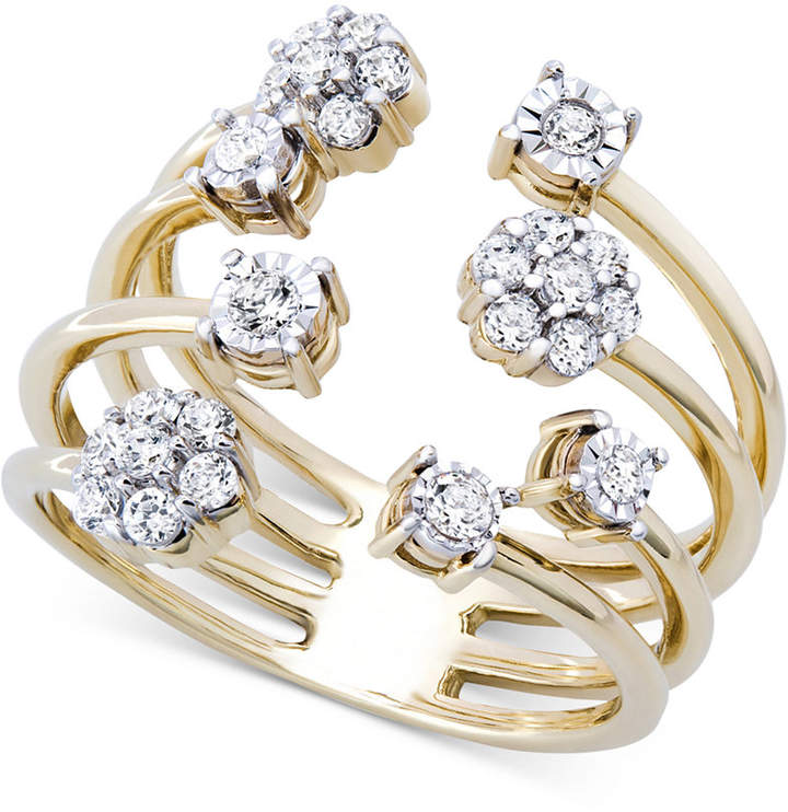 Wrapped Diamond Cluster Cuff Ring (3/8 ct. t.w.) in 14k Gold-Plated Sterling Silver