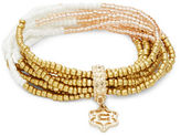 Nanette Lepore Charm Accented Beaded Stretch Bracelet