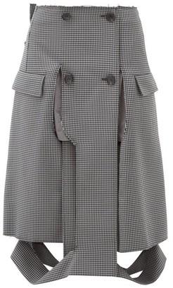 Maison Margiela Deconstructed Houndstooth Pencil Skirt - Womens - Grey