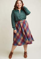 ModCloth Sunday Sojourn Midi Skirt in Warm Plaid in 1X