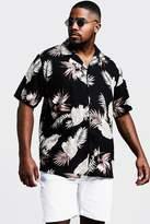 BoohooMAN Big & Tall Floral Print Revere Collar Shirt